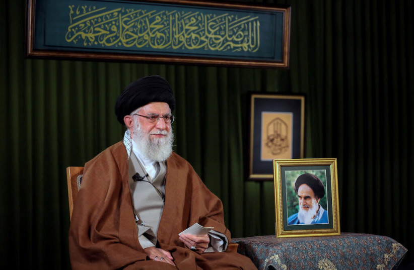 Iran's Supreme Leader Ayatollah Ali Khamenei delivers a televised speech on the occasion of the Iranian New Year Nowruz, in Tehran (photo credit: REUTERS)