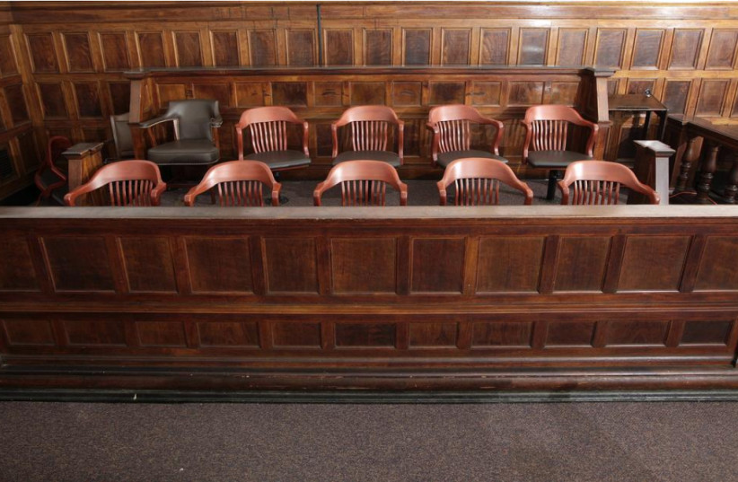 A view of the jury box in court room 422 of the New York Supreme Court. (photo credit: CHIP EAST / REUTERS)