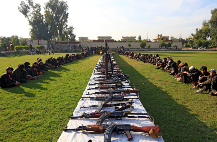 ISIS militants who surrendered to the Afghan government are presented to media in Jalalabad, Nangarhar province, Afghanistan November 17, 2019 (photo credit: REUTERS/PARWIZ)