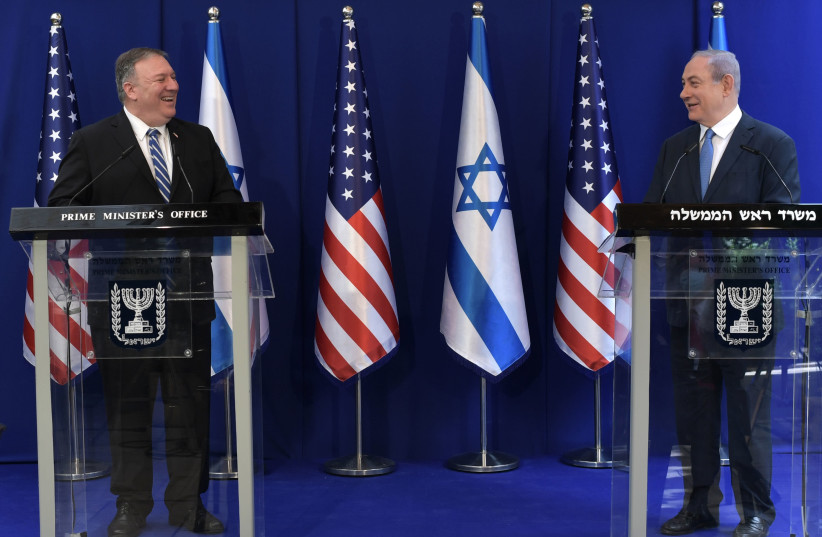 Prime Minister Benjamin Netanyahu welcomes US Secretary of State Mike Pompeo on a six-hour visit to Israel on May 13 (photo credit: KOBI GIDON / GPO)