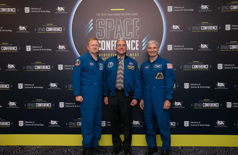 (From left) NASA astronauts Eric Boe, Donald Thomas and Mark Vande Hei participate in Israeli Space Week (photo credit: SHAULI LENDNER)