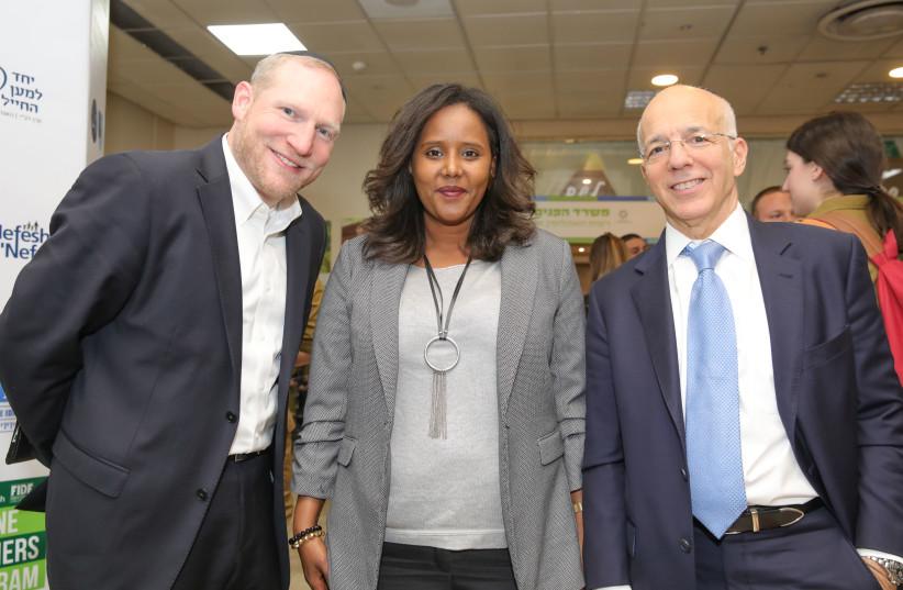 L-R: Rabbi Yehoshua Fass, MK Pnina Tamano-Shata, and Tony Gelbart (photo credit: COURTESY OF NEFESH B'NEFESH)