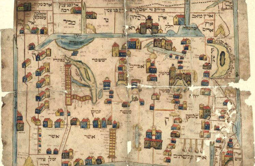 The 'Vilna Gaon Map' is believed to be a copy of a map drawn by the Gaon, which was illustrated by his students shortly after his death around 1800. (photo credit: ERAN LAOR CARTOGRAPHIC COLLECTION/NATIONAL LIBRARY OF ISRAEL)