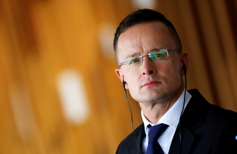 Hungarian Foreign Minister Peter Szijjarto attends a news conference at the Itamaraty Palace in Brasilia, Brazil October 8, 2019 (photo credit: ADRIANO MACHADO/ REUTERS)