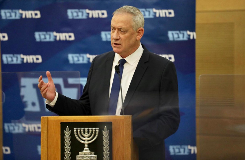 Blue and White leader and Alternate Prime Minister Benny Gantz speaks at a Blue and White faction meeting, May 27, 2020 (photo credit: ELAD MALKA)