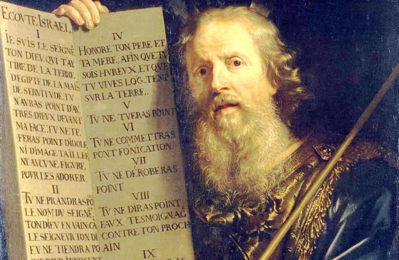 'MOSES WITH the Ten Commandments,' Philippe de Champaigne, 1648: Why not read them every day? (photo credit: Wikimedia Commons)