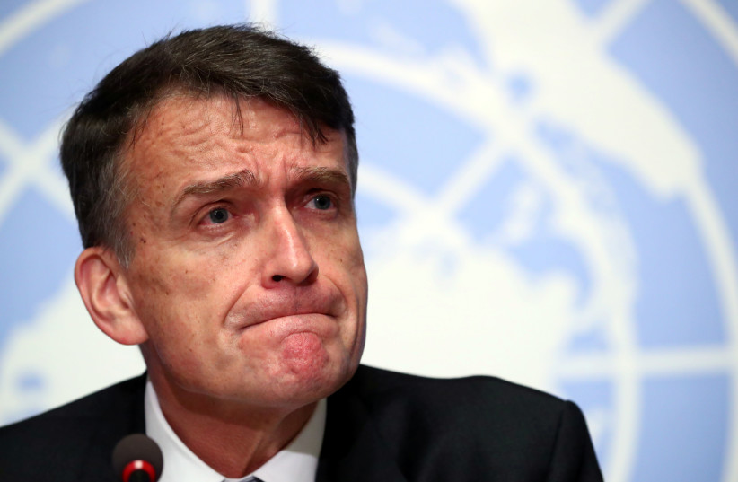 CHRISTIAN SAUNDERS, acting Commissioner-General of the UNRWA Agency for Palestine Refugees, attends a conference in Geneva in January (photo credit: REUTERS/DENIS BALIBOUSE)