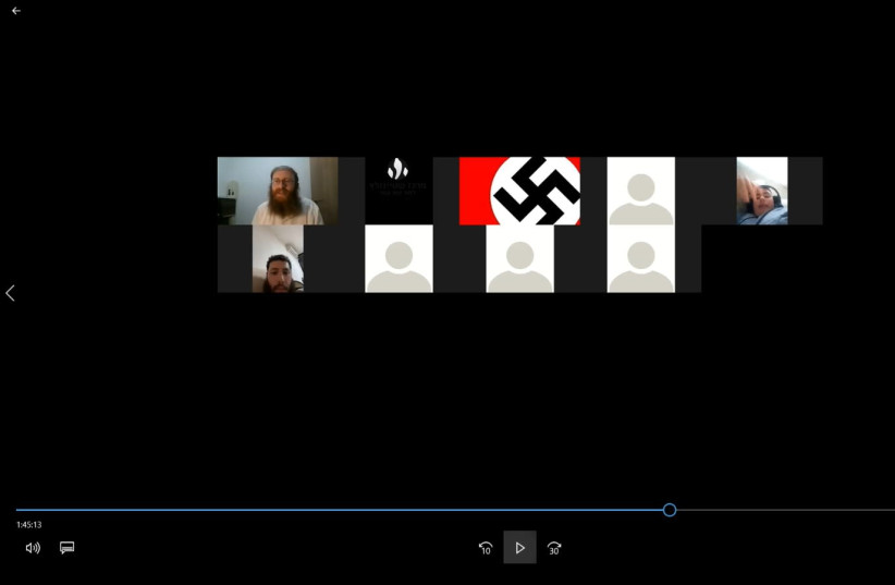 """Antisemitic """"zoombomb"""" shows one user's photo as a swastika (photo credit: COURTESY STEINZALTZ CENTER)"""