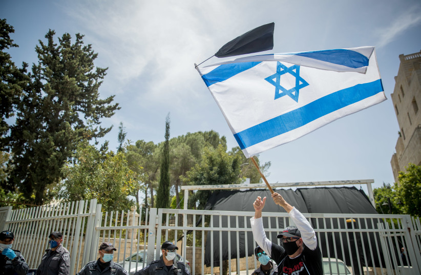 Israelis protest against government corruption and for democracy, outside the Prime Minister's Residence in Jerusalem on May 3, 2020 (photo credit: YONATAN SINDEL/FLASH 90)