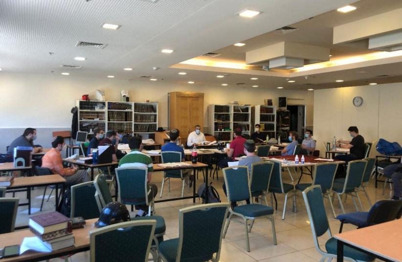 STUDENTS AT Yeshivat Migdal HaTorah return to in-person classes shortly after Yom Ha'atzma'ut. (photo credit: YESHIVA MIGDAL HATORAH)