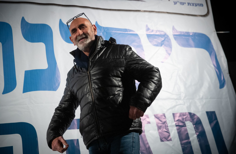 David Elhayani, head of the Jordan Valley Regional Council attends a protest for Israeli sovereignty in the Jordan Valley, Judea and Samaria in Jerusalem on February 13, 2020. (photo credit: YONATHAN SINDEL/FLASH90)