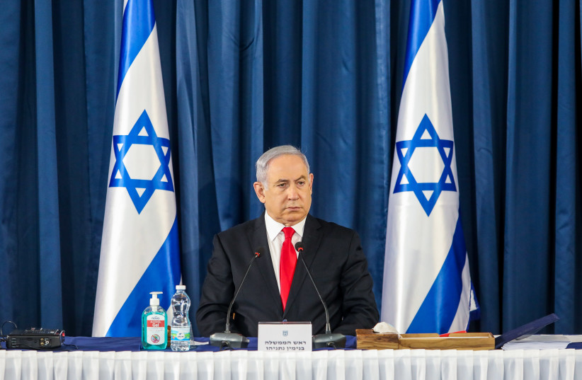 Prime Minister Benjamn Netanyahu attends the weekly cabinet meeting, June 7, 2020 (photo credit: MARC ISRAEL SELLEM/THE JERUSALEM POST)