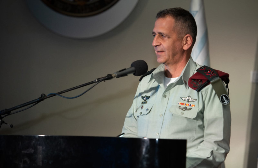 IDF Chief of Staff Aviv Kochavi speaks at a ceremony marking the IDF's role in the fight against the coronavirus, June 8, 2020. (photo credit: IDF SPOKESPERSON'S UNIT)
