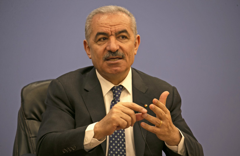 Palestinian Prime Minister Mohammad Shtayyeh addresses journalists during a meeting with members of the Foreign Press Association in Ramallah in the West Bank June 9, 2020 (photo credit: ABBAS MOMANI/POOL VIA REUTERS)
