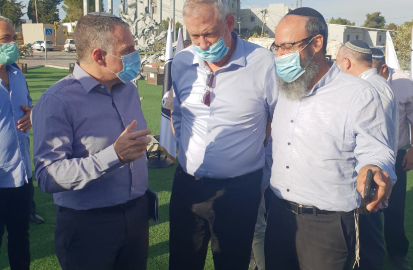 Alternate Prime Minister and Defense Minister Benny Gantz is seen meeting with settler leaders. (photo credit: DEFENSE MINISTRY)