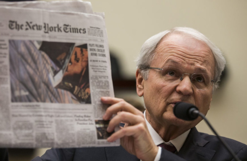 Mort Klein, president of the Zionist Organization of America, testifies before a House Judiciary Committee hearing discussing hate crimes and the rise of white nationalism (photo credit: ZACH GIBSON/GETTY IMAGES VIA JTA)