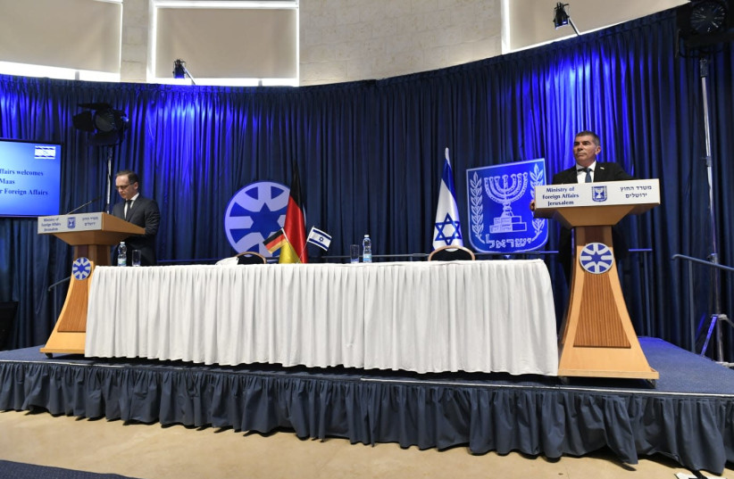 Israeli Foreign Minister Gabi Ashkenazi and German Foreign Minister Heiko Maas deliver opening remarks ahead of their meeting at the Foreign Ministry in Jerusalem (photo credit: FOREIGN MINISTRY)