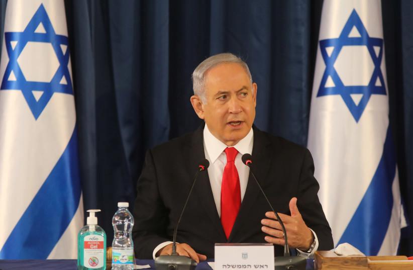 Israeli Prime Minister Netanyahu convenes weekly cabinet meeting in Jerusalem (photo credit: REUTERS)