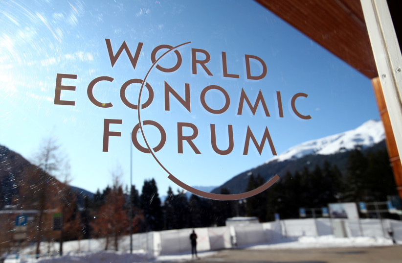 A sign is pictured at the Congress Center ahead of the World Economic Forum (WEF) annual meeting in Davos, Switzerland January 20, 2020. (photo credit: REUTERS)
