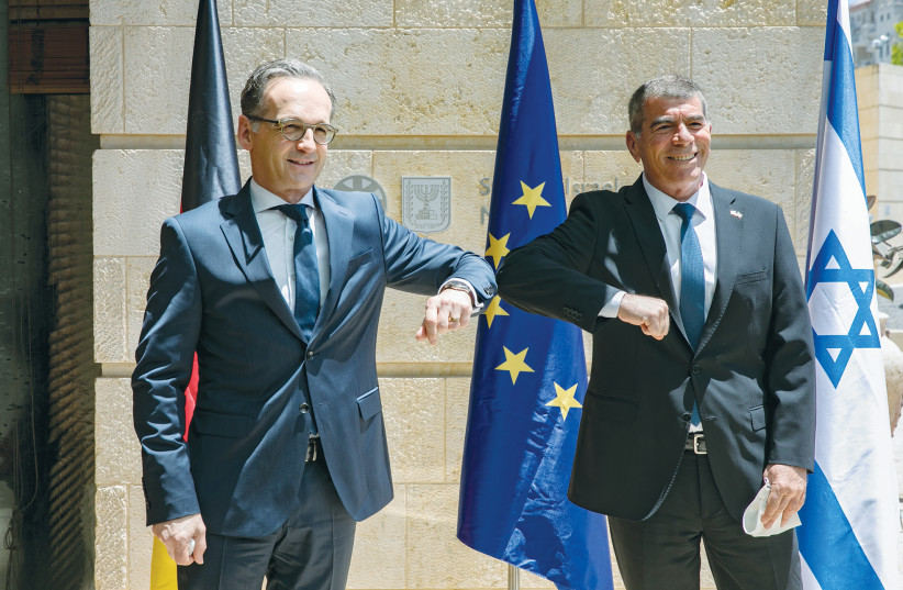 FOREIGN MINISTER Gabi Ashkenazi meets with German Foreign Minister Heiko Maas at the Ministry of Foreign Affairs in Jerusalem last week. (photo credit: OLIVIER FITOUSSI/FLASH90)