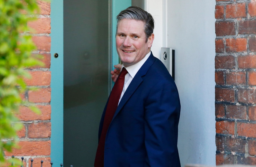 Keir Starmer leaves his London home after being elected the new Labour Party leader, April 4, 2020 (photo credit: HOLLIE ADAMS/GETTY IMAGES/JTA)