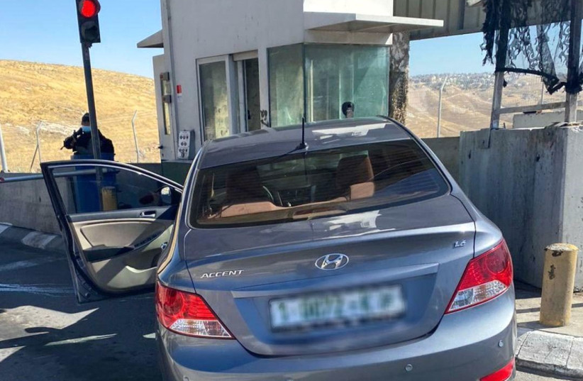 Attempted ramming attack at the Kiosk Checkpoint near Ma'aleh Adumim, June 23, 2020 (photo credit: ISRAEL POLICE)