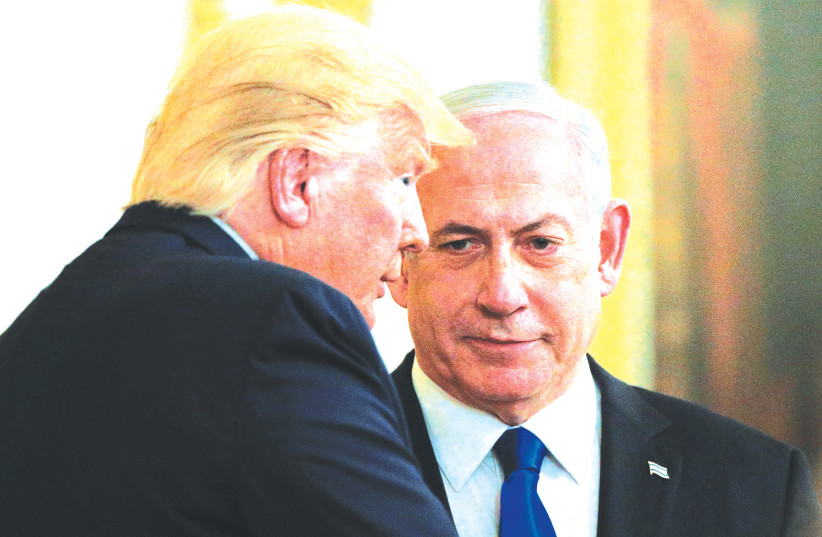 WITH ONE gesture, Netanyahu, seen here with Donald Trump, could return the Palestinian cause to center-stage diplomatically while sabotaging new Arab alliances. (photo credit: BRENDAN MCDERMID/REUTERS)