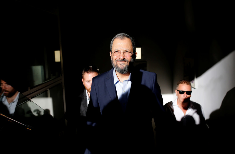Former Israeli Prime Minister Ehud Barak arives before delivering a statement in Tel Aviv, Israel (photo credit: REUTERS)