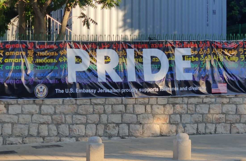 Pride banner at the US Embassy building on Agron St. in Jerusalem after it was replaced on June 24 after being removed (photo credit: GAL GASHMA)