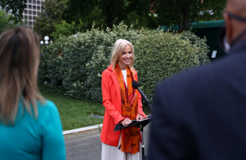 White House Special Counselor Kellyanne Conway speaks to news reporters during a press gaggle outside the West Wing at the White House in Washington, US, June 17, 2020 (photo credit: REUTERS)