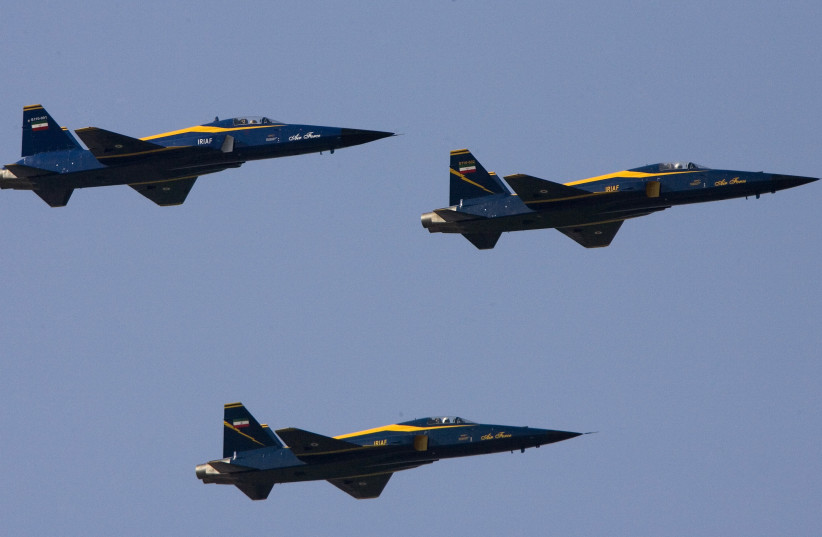 Iran's domestically-produced Saegheh fighter jets perform a flypast during a military parade to commemorate the 1980-88 Iran-Iraq war in Tehran September 22, 2007 (photo credit: REUTERS/MORTEZA NIKOUBAZL)