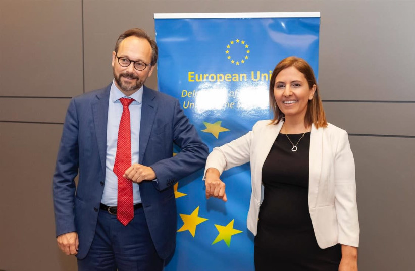 Head of Delegation of European Union to the State of Israel Emanuele Giaufret (L) with Ministry of Environmental Protection Gila Gamliel (R).  (photo credit: Courtesy)