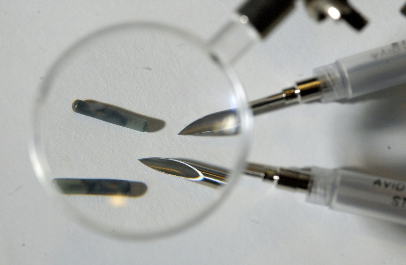 Radio Frequency Identification microchips with the needles used to implant them in New York (photo credit: REUTERS)