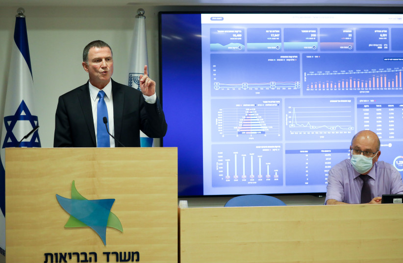 Minister of Health Yuli Edelstein speaks during a press conference about the coronavirus COVID-19, at the Health Ministry in Jerusalem on June 28, 2020. (photo credit: OLIVIER FITOUSSI/FLASH90)