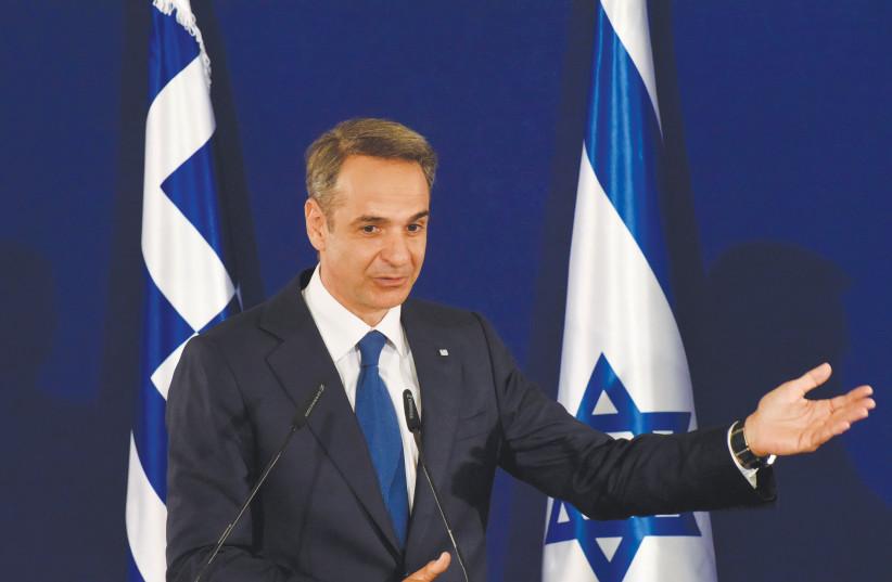 GREEK PRIME Minister Kyriakos Mitsotakis speaks during a press briefing in Jerusalem last week. (photo credit: DEBBIE HILL/REUTERS)