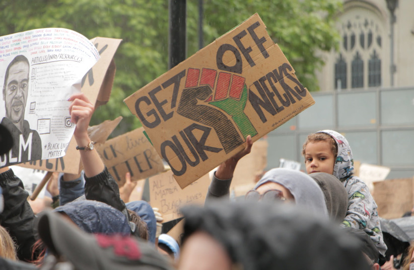 Black Lives Matter rally in London, June 6, 2020 (photo credit: FLICKR/SOCIALIST APPEAL)