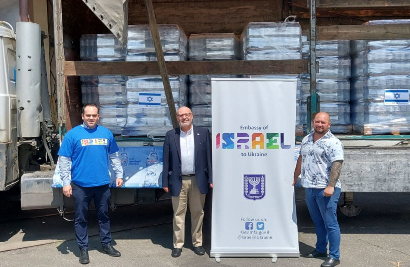 Israel Embassy in Ukraine donates thousands of water bottles following the floods that took place in June, 2020. (photo credit: ISRAEL EMBASSY IN UKRAINE)