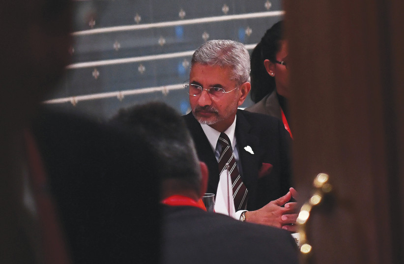 INDIA'S MINISTER of External Affairs Subrahmanyam Jaishankar participates in a working dinner with Japan's Foreign Minister Toshimitsu Motegi, during the G20 Aichi-Nagoya Foreign Ministers' meeting, 2019 (photo credit: CHARLY TRIBALLEAU/REUTERS)
