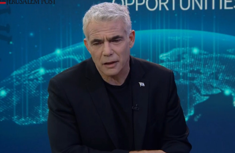 MK Yair Lapid, Leader of the Opposition and Chair of Yesh Atid-Telem in conversation with Yaakov Katz (photo credit: JERUSALEM POST)
