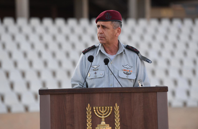 IDF Chief of Staff Aviv Kochavi speaks at the officers graduation ceremony, July 1st, 2020 (photo credit: IDF SPOKESMAN'S UNIT)