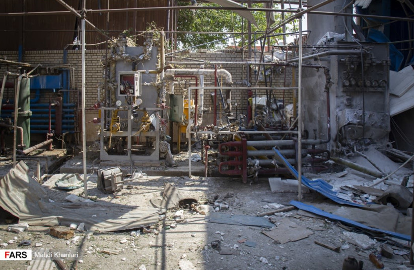 Aftermath of explosion at Sepahan Boresh factory near Tehran, July 7, 2020 (photo credit: FARS NEWS AGENCY/MAHDI KHANLARI)