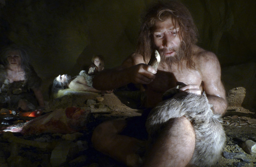 An exhibit shows the life of a neanderthal family in a cave in the new Neanderthal Museum in the northern town of Krapina February 25, 2010. (photo credit: NIKOLA SOLIC/REUTERS)