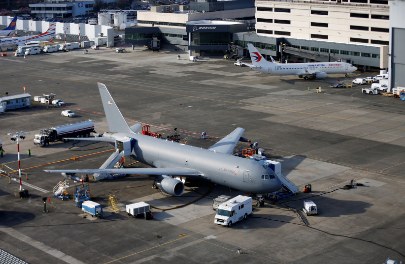 A Boeing KC-46A Pegasus sits on the tarmac at Boeing facilities at Boeing Field in this aerial photo in Seattle, Washington, U.S. (photo credit: REUTERS/LINDSEY WASSON)