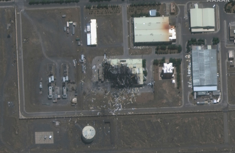 A handout satellite image shows a closeup view of a building damaged by fire at the Natanz nuclear facility in Natanz, Iran July 8, 2020. (photo credit: REUTERS)
