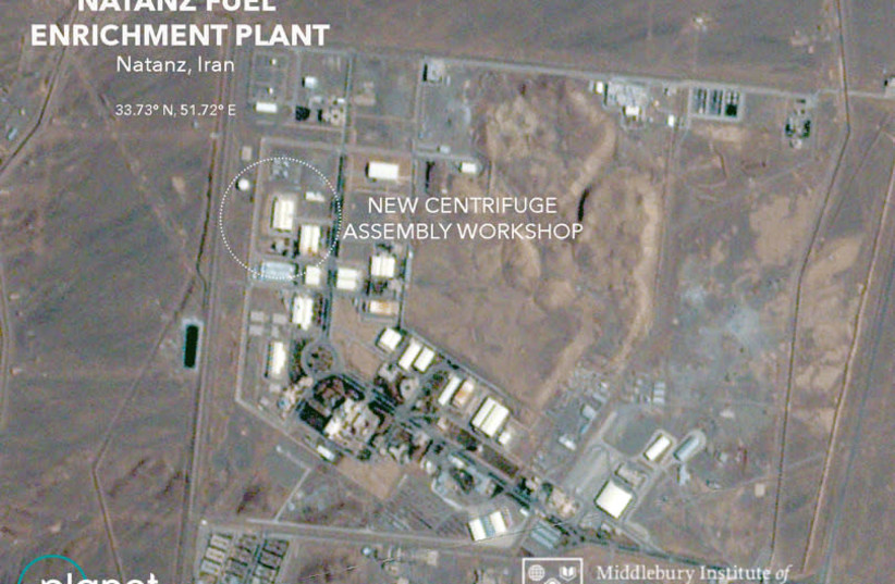 A handout satellite image shows the new centrifuge assembly workshop, according to the Middlebury Institute of International Studies at Monterey (MIIS) analysis, at the Natanz Fuel Enrichment Plant in Natanz, Iran, July 1, 2020 (photo credit: REUTERS)