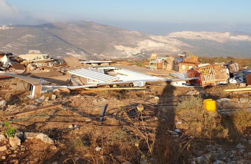 An illegal settlement built by Israeli settlers near the near the Yitzhar settlement in the Samaria region. (photo credit: BORDER POLICE SPOKESPERSON)