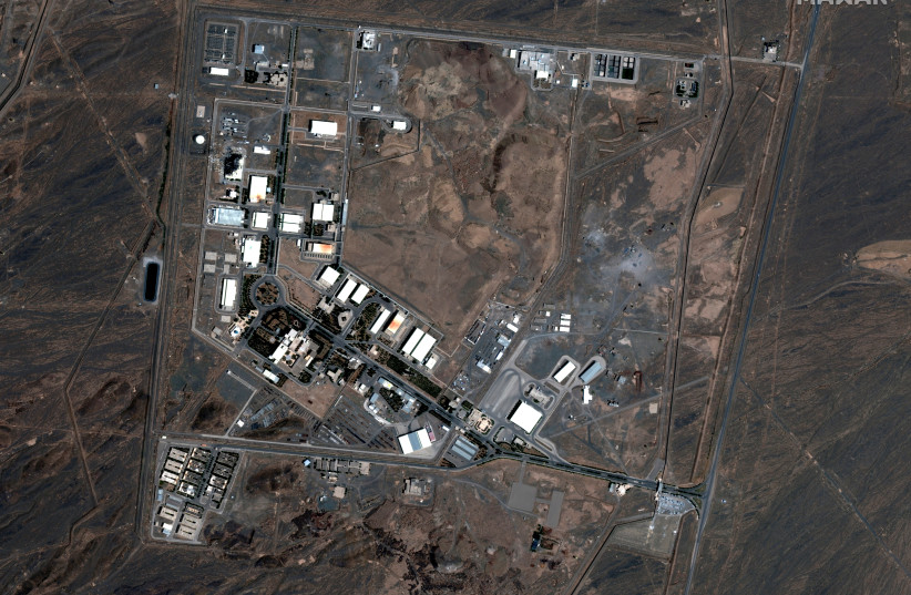 A handout satellite image shows a general view of the Natanz nuclear facility after a fire, in Natanz, Iran July 8, 2020 (photo credit: MAXAR TECHNOLOGIES/HANDOUT VIA REUTERS)