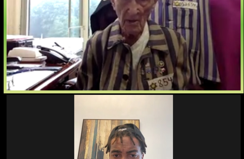 Holocaust survivor Edward Mosberg is seen in a zoom call with NFL wide receiver DeSean Jackson. (photo credit: FROM THE DEPTHS)