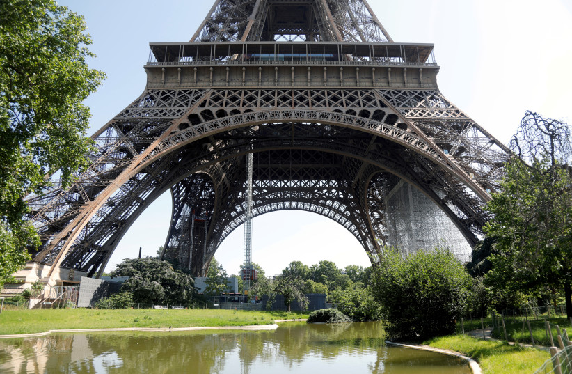 A view shows the Eiffel Tower in Paris on its reopening day to the public following the coronavirus disease (COVID-19) outbreak in France, June 25, 2020 (photo credit: REUTERS)
