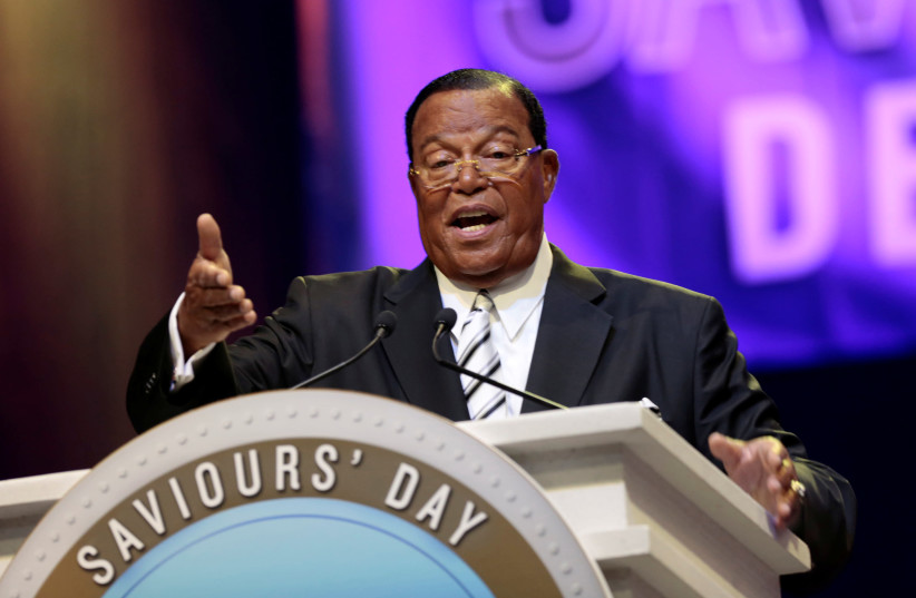 Religious leader Louis Farrakhan gives the keynote speech at the Nation of Islam Saviours' Day convention in Detroit, Michigan, U.S. February 19, 2017. (photo credit: REUTERS/REBECCA COOK)